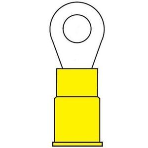 ASEP VR1210-10C Ring Terminal, Vinyl Insulated, 12-10 AWG, #10 Stud Size, Yellow