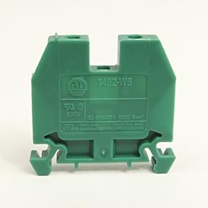 Allen-Bradley 1492-W6-G Terminal Block, 40A, 600V AC/DC, Green, 6mm, Space Saver