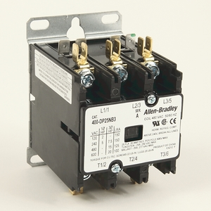 Allen-Bradley 400-DP25ND2 Contactor, Definite Purpose, 25A, 2P, 120VAC Coil, 600VAC Rated