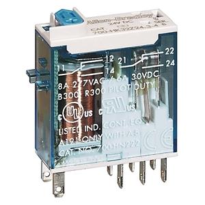 Allen-Bradley 700-HK32Z24-4 Relay, Ice Cube, Slim Line, 8-Blade, 2PDT, 8A, 24VDC, LED Option