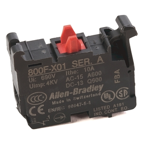 Allen-Bradley 800F-X01 Contact Block, 22.5mm, Plastic, 1 Normally Closed