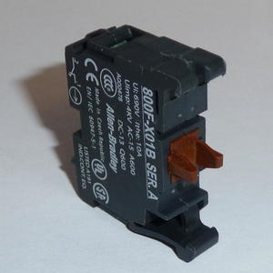 Allen-Bradley 800F-X01B Contact Block, 22.5mm, Plastic, 1 Normally Closed, Early Break