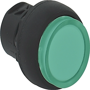 Allen-Bradley 800FM-LE3 Push Button, Extended, Illuminated, Momentary, Metal, Green