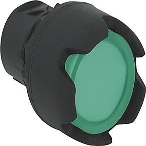 Allen-Bradley 800FM-LG3 Push Button, Guarded, Illuminated, Momentary, Metal, Green