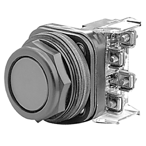 Allen-Bradley 800H-AR2D1 Push Button, Bootless Flush Head, Black, NEMA 4/4X/13, 1 NO Contact