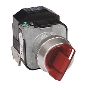 Allen-Bradley 800T-16JR2KB7AX Selector Switch, 3-Position, Red, Illuminated, 120VAC, Knob