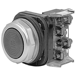 Allen-Bradley 800T-A2D1 Push Button, Flush Head, Black, 30mm, Momentary, NEMA 4/13