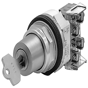 Allen-Bradley 800T-H42A Selector Switch, 2-Position, Keyed, 30mm, Key Removal from Right