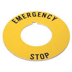 "Allen-Bradley 800T-X646EM Legend Plate, Yellow IEC Ring, Red Text, ""EMERGENCY STOP"""