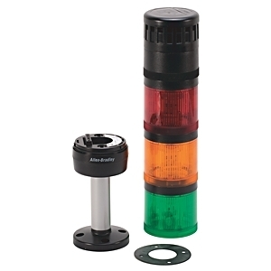 Allen-Bradley 855TP-B24Y3Y5Y4A1 Pre-Assembled Control Tower Stack Light, Size: 70mm, 10cm Pole Mount