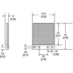 Allen-Bradley 92-109 Reflector, Rectangular, 51 x 61mm, Mounting Tabs, Corner Cube Style