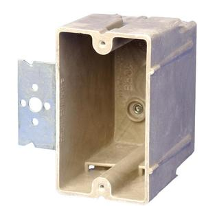 "Allied Moulded 1098-Z2 Switch/Outlet Box with Bracket, Depth: 3"", 1-Gang, Non-Metallic"