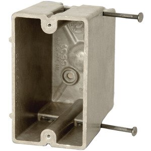 "Allied Moulded 1099-N Switch/Outlet Box, 1-Gang, Depth: 3-9/16"", Nail-On, Non-Metallic"