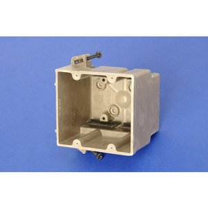 """Allied Moulded 2300-SS Switch/Outlet Box, 2-Gang, Depth: 3"""", Nail-On, Non-Metallic"""