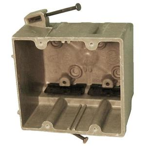 "Allied Moulded 2302-NK Switch/Outlet Box, 2-Gang, Depth: 3-7/16"", Nail-On, Non-Metallic"