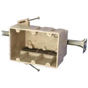 "Allied Moulded 3300-NBK Switch/Outlet Box with Stabilizing Bar, Depth: 3"", Non-Metallic"