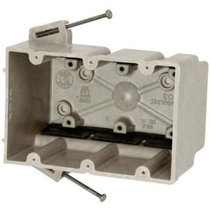 "Allied Moulded 3300-NK Switch/Outlet Box, 3-Gang, Depth: 3"", Nail-On, Non-Metallic"