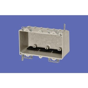 "Allied Moulded 9313-EW Switch/Outlet Box, 3-Gang, Depth: 2-7/8"", Ear Brackets, Non-Metallic"
