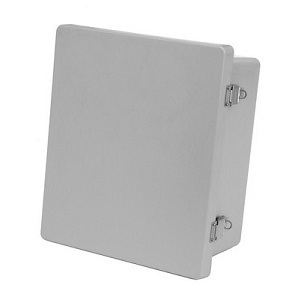 "Allied Moulded AM1648L Enclosure, Hinge Cover, NEMA 4X, 16"" X 14"" x 8"", Gray, Fiberglass"