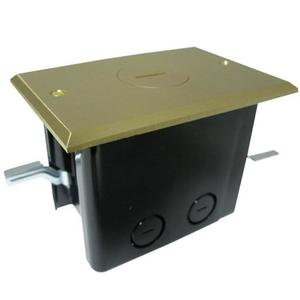 Allied Moulded FB-1 Floor Box Assembly, Includes Single Receptacle, Brass Floor Plate