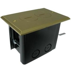 Allied Moulded FB-2 Floor Box Assembly, Includes Duplex Receptacle, Brass Floor Plate