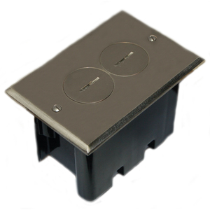 Allied Moulded FB-2N Floor Box Assembly, Includes Duplex Receptacle, Nickel Floor Plate