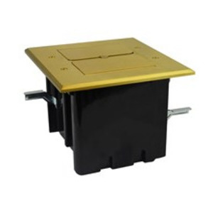 Allied Moulded FB-5 Floor Box Assembly, Rectangular, 2-Gang, Includes Flip Lids, Brass