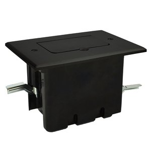 Allied Moulded FB-6DB Single gang rectangular floor box assembly with a dark bronze plated flip-lid cover for a decorative style device