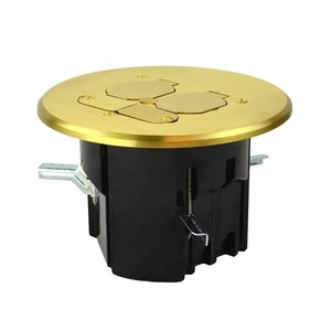 Allied Moulded FB-8 Round floor box assembly with brass flip-lid cover for line and low voltage installations