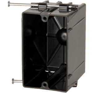 """Allied Moulded P-201 Switch/Outlet Box, 1-Gang, Depth: 3-1/16"""", Nail-On, Non-Metallic"""