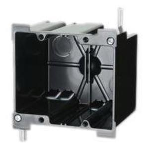 "Allied Moulded P-240OW Switch/Outlet Box, 2-Gang, Depth: 3-25/64"", Ear Brackets, Non-Metallic"