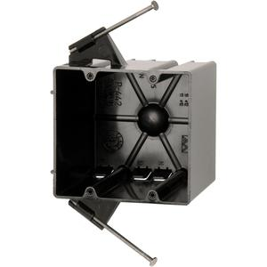 "Allied Moulded P-442 Switch/Outlet Box, 2-Gang, Depth: 3-9/16"", Nail-On, Non-Metallic"
