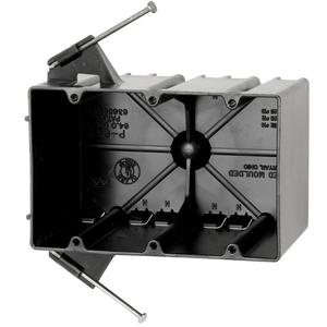 "Allied Moulded P-643 Switch/Outlet Box, 3-Gang, Depth: 3-9/16"", Nail-On, Non-Metallic"