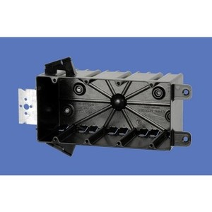"Allied Moulded P-764H Switch/Outlet Box with Bracket, Depth: 3-1/4"", 4-Gang, Non-Metallic"