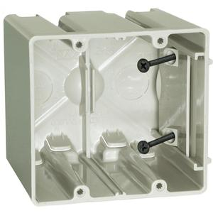 "Allied Moulded SB-2 Switch/Outlet Box, 2-Gang, Adjustable, Depth: 3-9/16"", Non-Metallic"