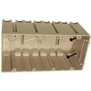 "Allied Moulded SB-4 Switch/Outlet Box, 4-Gang, Adjustable, Depth: 3-1/4"", Non-Metallic"