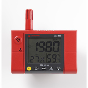Amprobe CO2-200 CO2 Meter, Wall Mount, Measurement Up to 9999 PPM, LCD Display