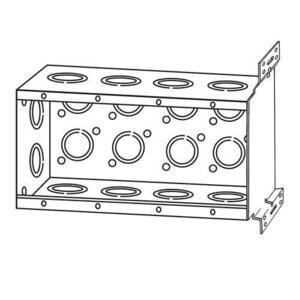 "Appleton 134APFB1/2 Handy Box, 4-Gang, 2-1/2"" Deep,Concentric KOs, Welded,Steel"