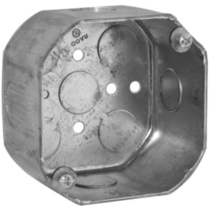 "Appleton 4OD-1/2 4"" Octagon Box, 2-1/8"" Deep, 1/2"" KOs, Steel"