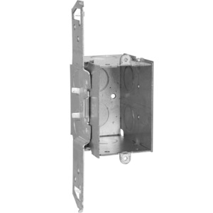 "Appleton 4SSLVB-1/2 Handy Box, 2-1/8"" Deep, 1/2"" KOs, Vertical Bracket, Welded, Metallic"