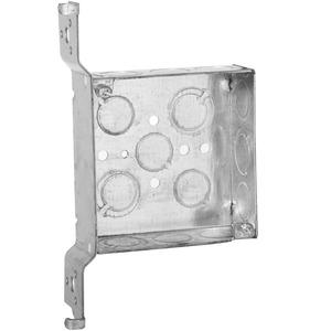 """Appleton 4SVB-EK-PL 4"""" Square Box, Welded, Metallic, 1-1/2"""" Deep, Vertical Bracket"""