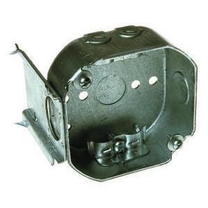 """Appleton 561LJB 4"""" Octagon Box, 1-1/2"""" Deep, NM Clamps, JB Bracket, Drawn, Steel"""