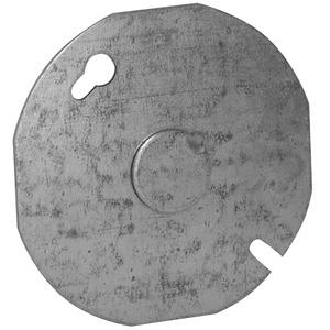 """Appleton 8413 4"""" Octagon/Round Box Cover, (1) 1/2"""" Knockout, Drawn, Metallic"""