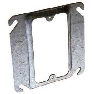 "Appleton 8468A 4"" Square Cover, 1-Device, Mud Ring, 1/2"" Raised, Drawn, Metallic"