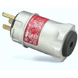 Appleton ECP-1523 Straight Blade Plug, 15A, 125V, Black/White