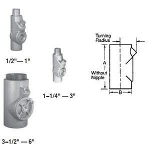 "Appleton EYM150 Sealing Fitting, 1-1/2"", Male/Female, Vertical (25% Fill), Malleable"