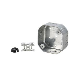 """Appleton FFS561L 4""""Round Celling Pan, Depth: 1-1/2"""", (3) 1/2"""" KOs, Metallic"""
