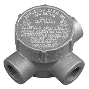 "Appleton GRJT75 Conduit Outlet Box, Type GRJT, (3) 3/4"" Hubs, Malleable"