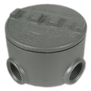 """Appleton GRU75-A Conduit Outlet Box, Type, GRU, (5) 3/4"""" Hubs, Aluminum"""
