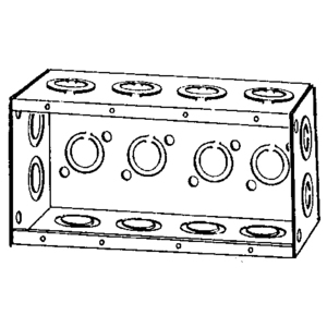 "Appleton M4-250 Masonry Box, 4-Gang, Gangable, 2-1/2"" Deep, 1/2 and 3/4"" KOs, Steel"